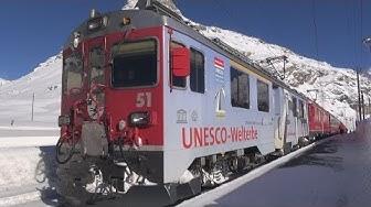 Berninabahn und Albulabahn im Winter - Zug,trainfart,train