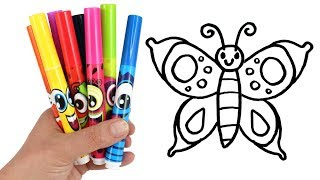 Draw for Kids with Surprise Toys | Drawing and Coloring Butterfly Handbag Flower Incredibles Toys