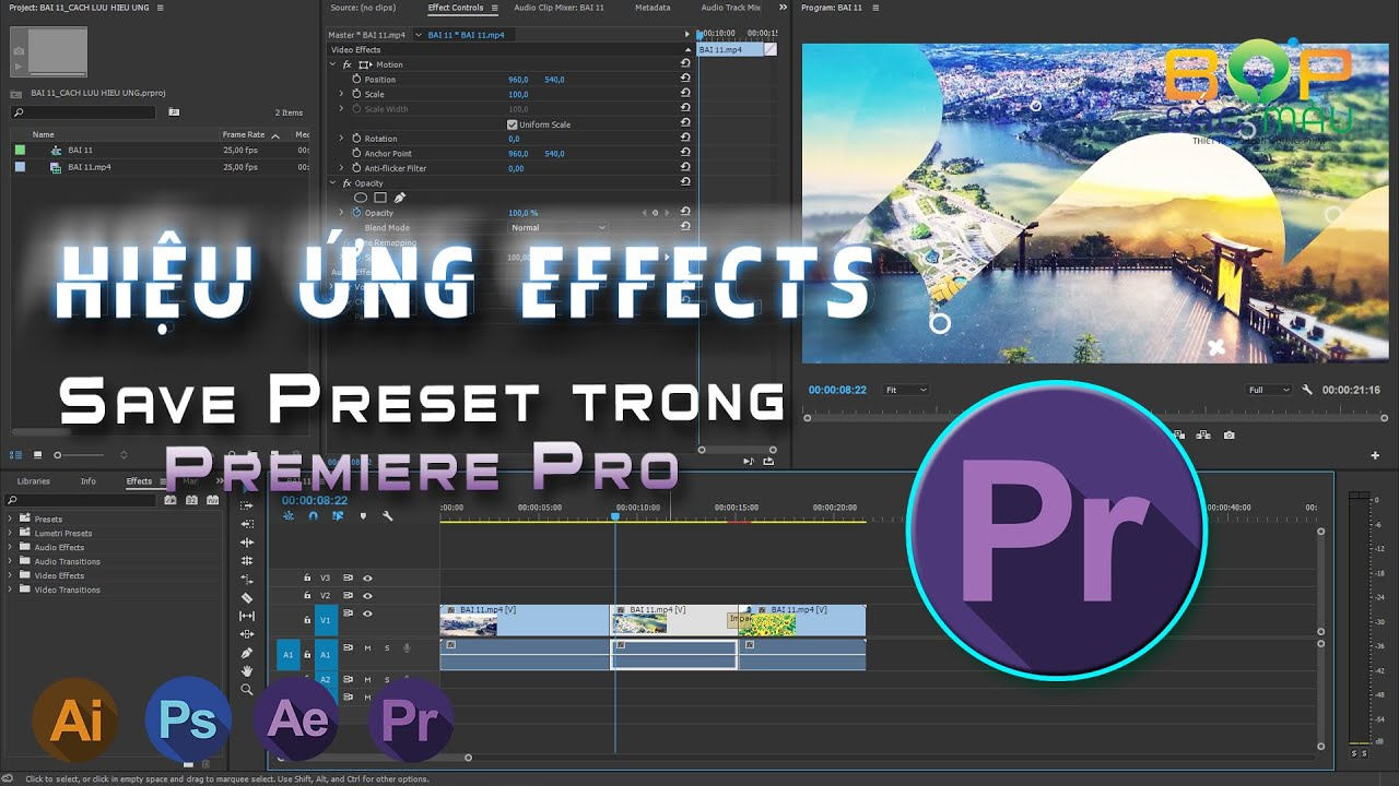 Hướng Dẫn Lưu Các Hiệu Ứng Effects | Save Preset Trong Premiere Pro | Học Dựng Phim Premiere Cơ Bản