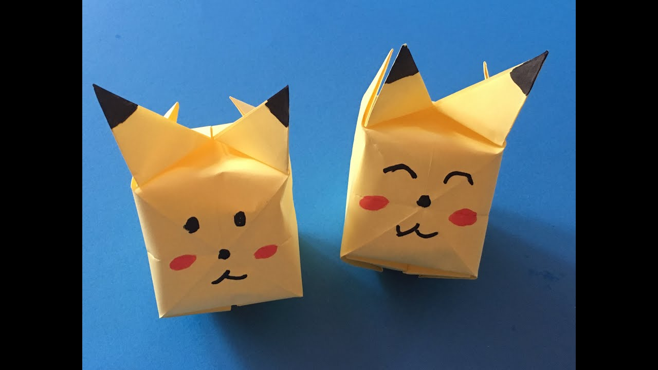 Papercraft origami for kids--how to make origami / paper pokemon Pikachu! origami pokemon go easy step by step