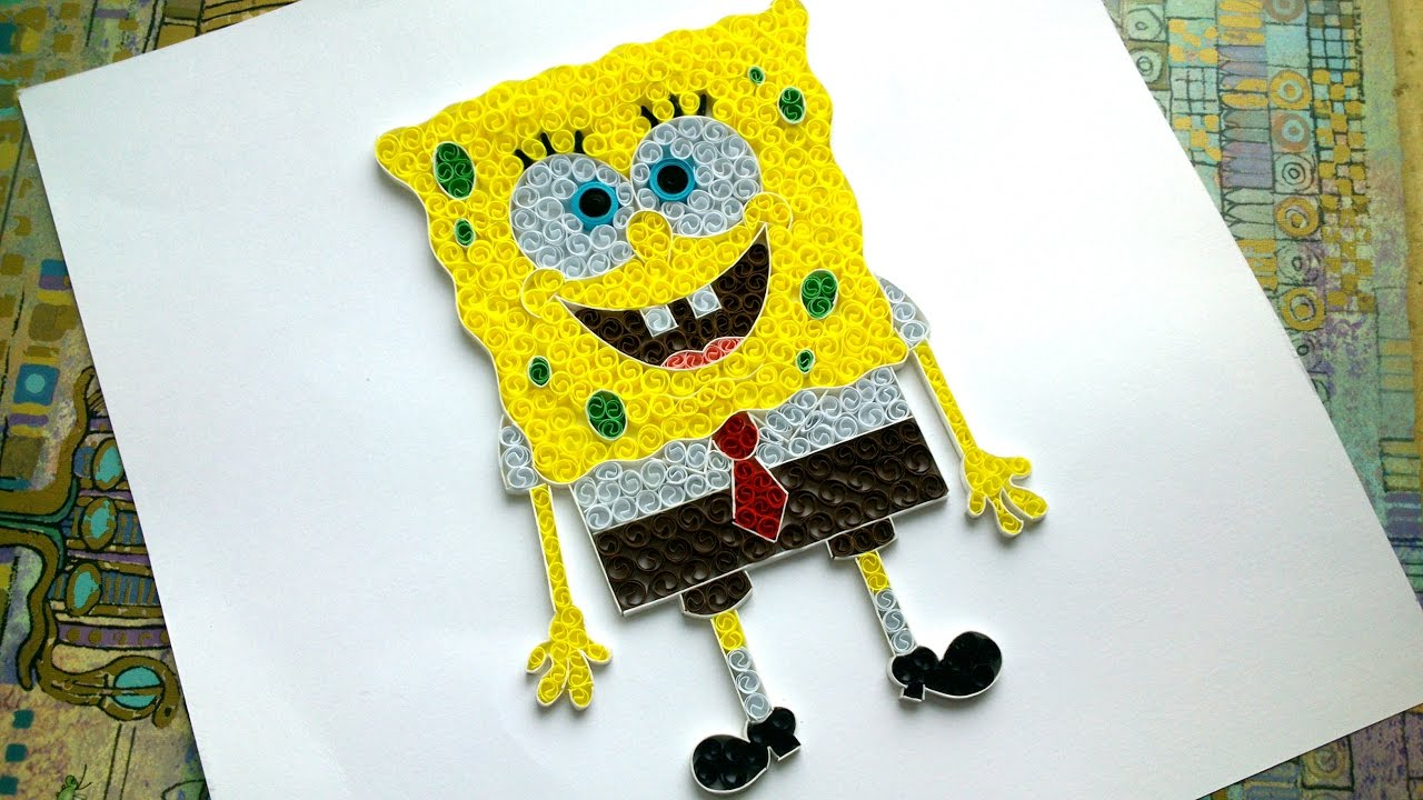 DIY Paper Quilling Spongebob - How to make Spongebob - YouTube
