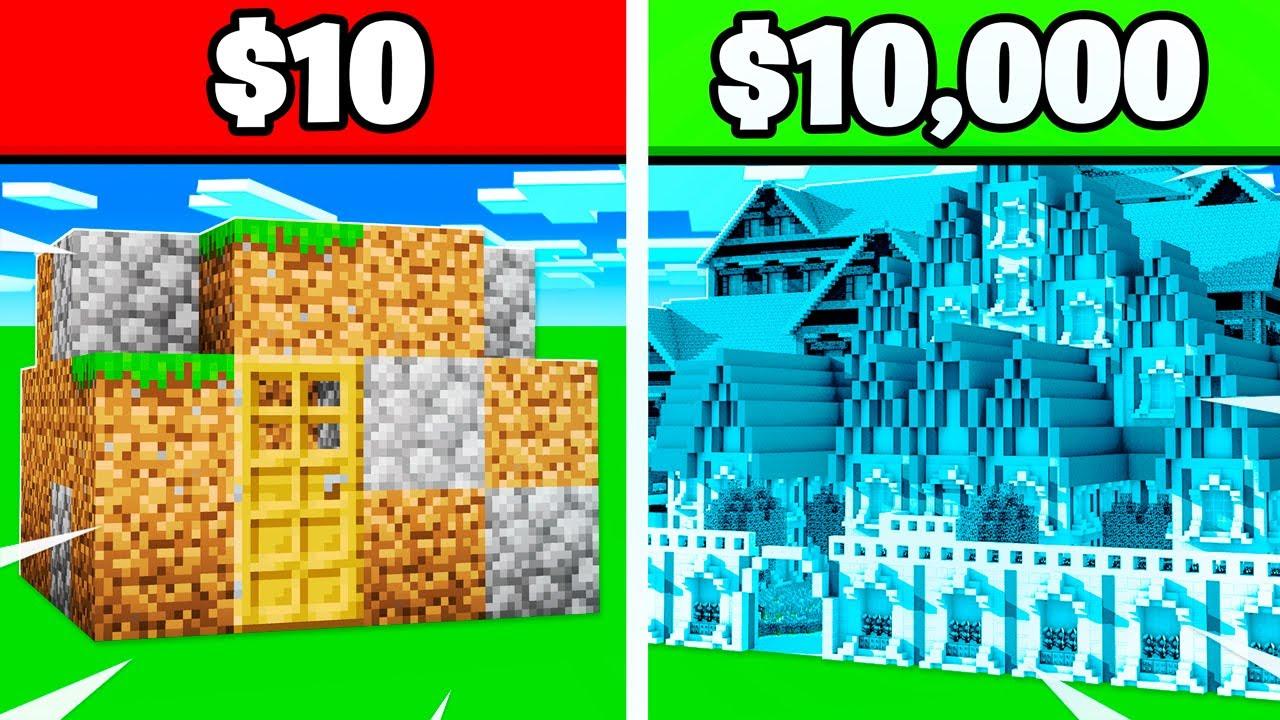 $10 House Vs $10,000 House MINECRAFT CHALLENGE!
