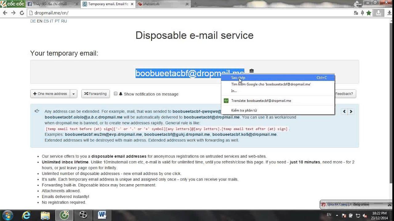 mail 10 phút dropmail.me
