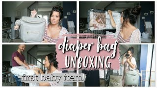 DIAPER BAG UNBOXING + FIRST BABY ITEM!