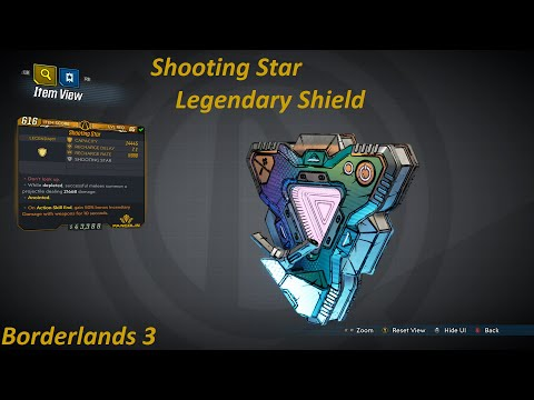 Borderlands 3: Shooting Star, legendary shield. Melee hits spawn a shooting star projectile...  