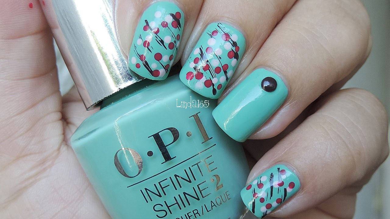 Nail Art - Abstract Cherry Blossom (Featuring OPI Infinite Shine ...