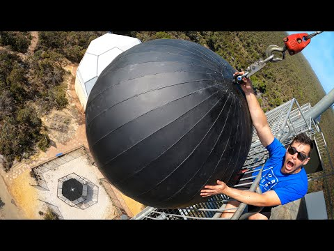 WRECKING BALL Vs. WORLD'S STRONGEST TRAMPOLINE from 45m!