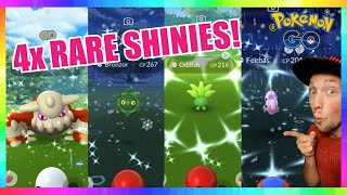 4x RARE SHINIES CAUGHT on STREAM in Pokemon Go! SHINY HEATRAN - ODDISH - BRONZOR & FEEBAS!