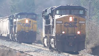 [1u] Full Story of CSX E148-21 Helping Stalled Q616-22, Elberton GA, 01/23/2016 ©mbmars01