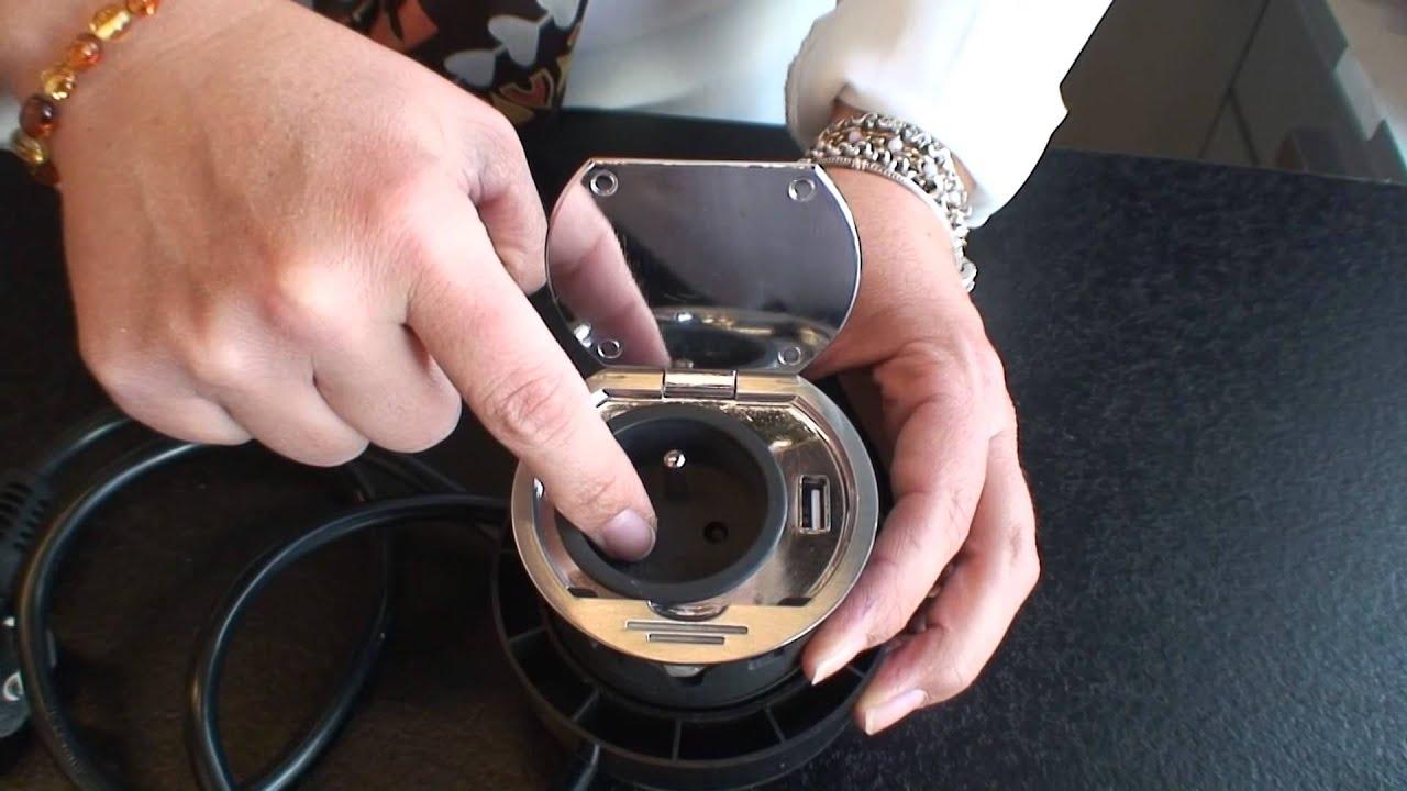 bloc prises affleurant avec port usb pour cuisine inox bross youtube - Prise Encastrable Plan De Travail Cuisine