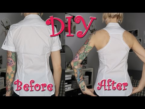 DIY Racer Back Shirt Button Down Shirt | Shirt | Makeover | Upcycle