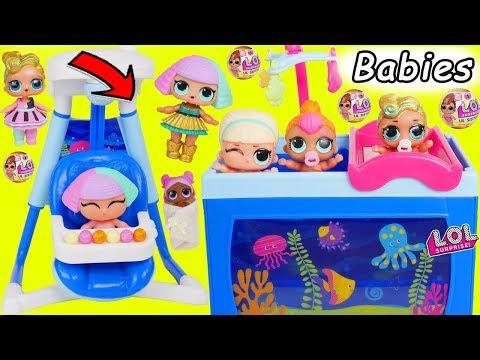 LOL Surprise Dolls Lil Sisters visit Barbie Babysitter