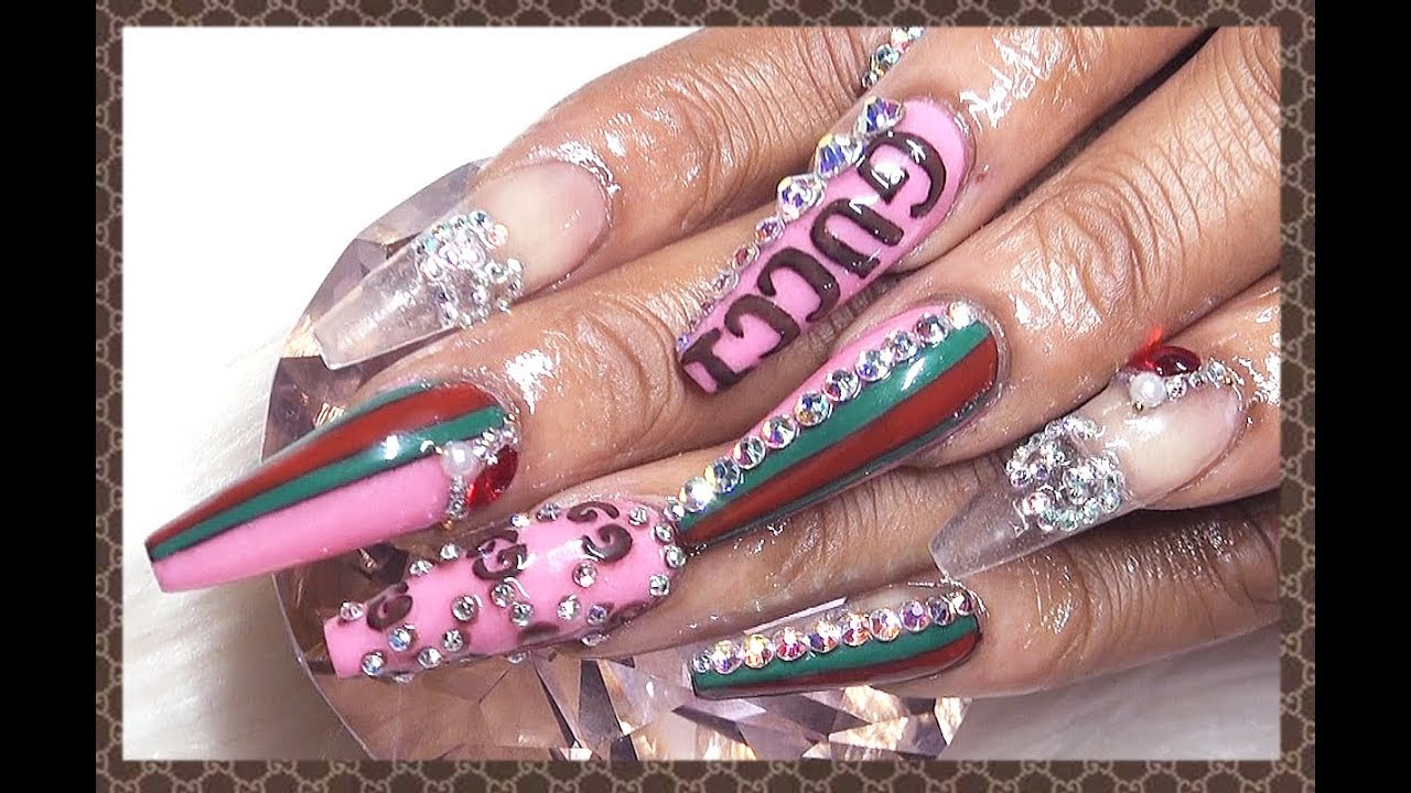 Gucci Gang Pink Acrylic Nails Design Youtube