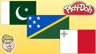 Play-Doh Flags! Pakistan, Solomon Islands, and Malta!  EWMJ #260