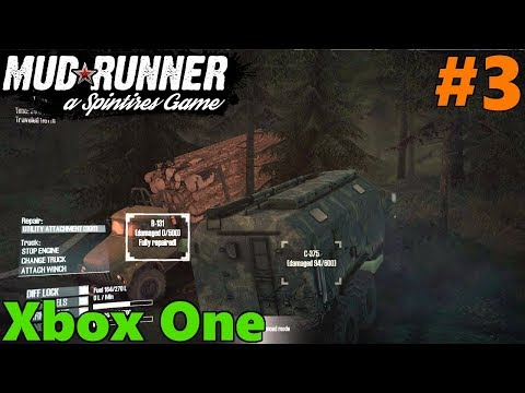 SpinTires Mud Runner: XBOX ONE Let's Play, Part 3! Truck Repair, LUMBER DELIVERY!