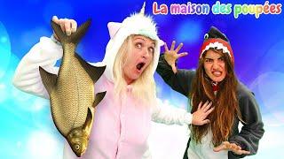 Famille de licornes.  Histoire drôle du requin et de la licorne.  Vidéo amusante.