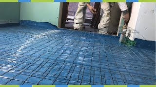 floor screed pour embarrassed leveling bath