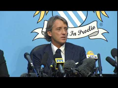Roberto Mancini unveiled as new Man City boss
