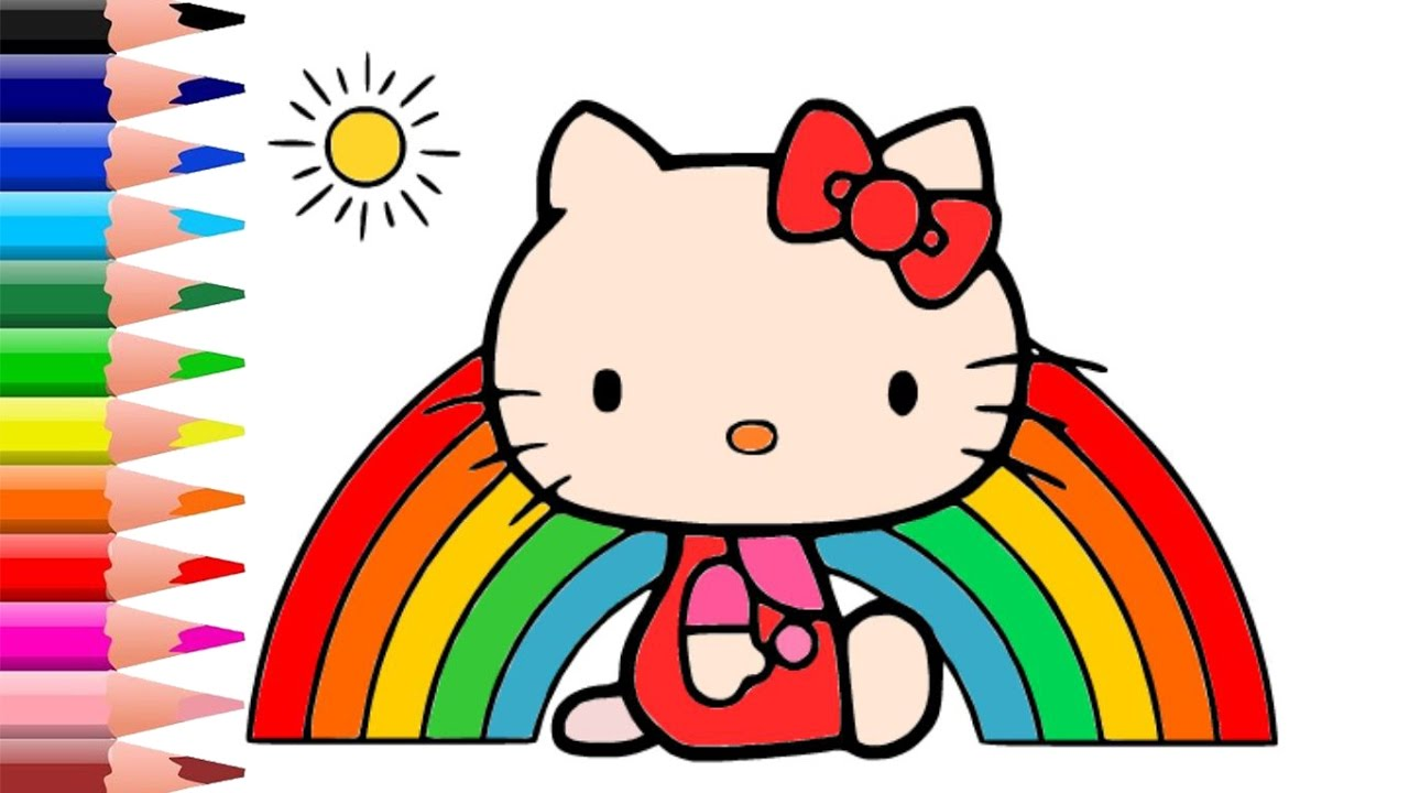How To Draw Color Hello Kitty Rainbow