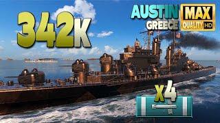 Крейсер Остин на карте Греция, урон 342к - World of Warships