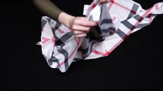 Шелковый платок в клетку от бренда AURI (MS-2161252/1-9). Обзор. Секреты драпировки.