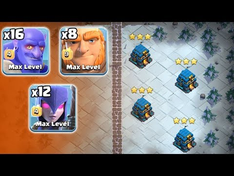 16 Bowler + 12 Witch + 8 Giant + Siege Machines = New Attack 2019 Th12 War 3Star Attack