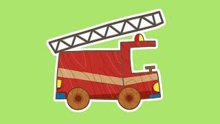 Policía y camión de bomberos. Coches de juguete. Dibujos para niños.