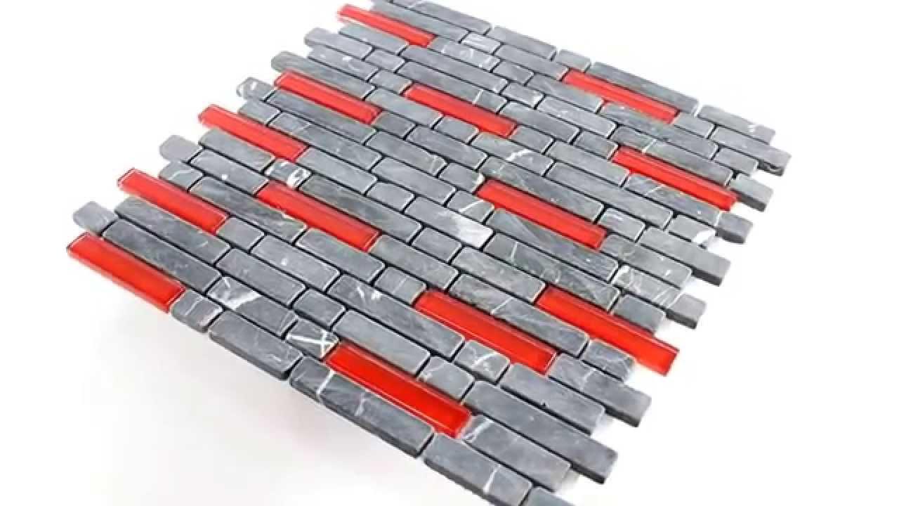 Glas Marmor Mosaik Fliesen Sticks Schwarz Rot Youtube