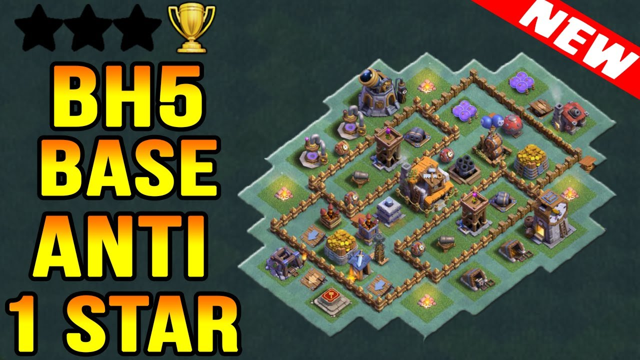 Best Builder Hall 5 Bh5 Base Anti 1 Star With Replays