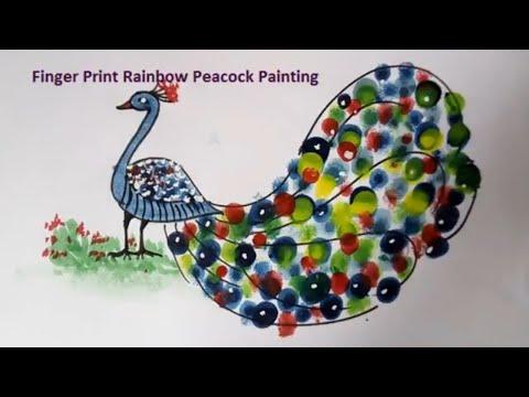 Finger Painting Idea Rainbow Peacock || Fun Art Activity For Kids