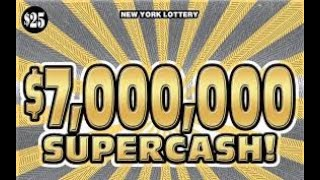 PROFIT $30 SESSION $25 7 MILLION DOLLAR SUPERCASH NEW YORK LOTTERY INSTANT WIN SCRATCH OFF TICKET