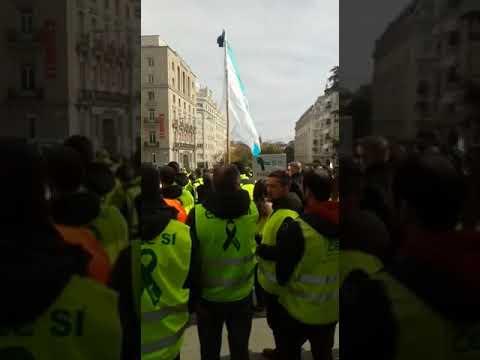 Os traballadores de Ence protestan ante Ferraz e o Congreso