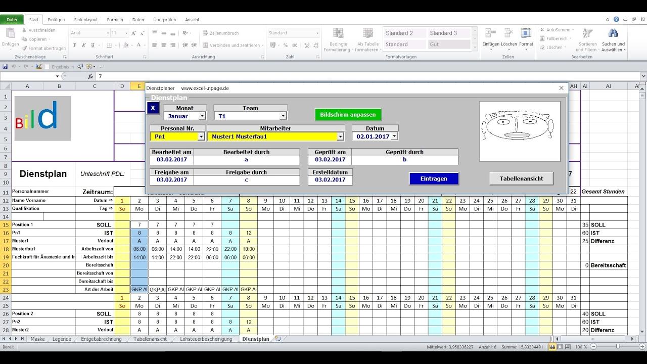 Dienstplaner In Excel Vba Youtube