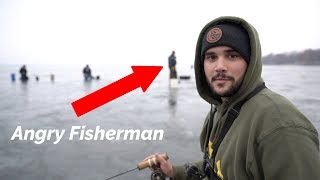 ANGRY Fisherman Encounter! (Thin ice)