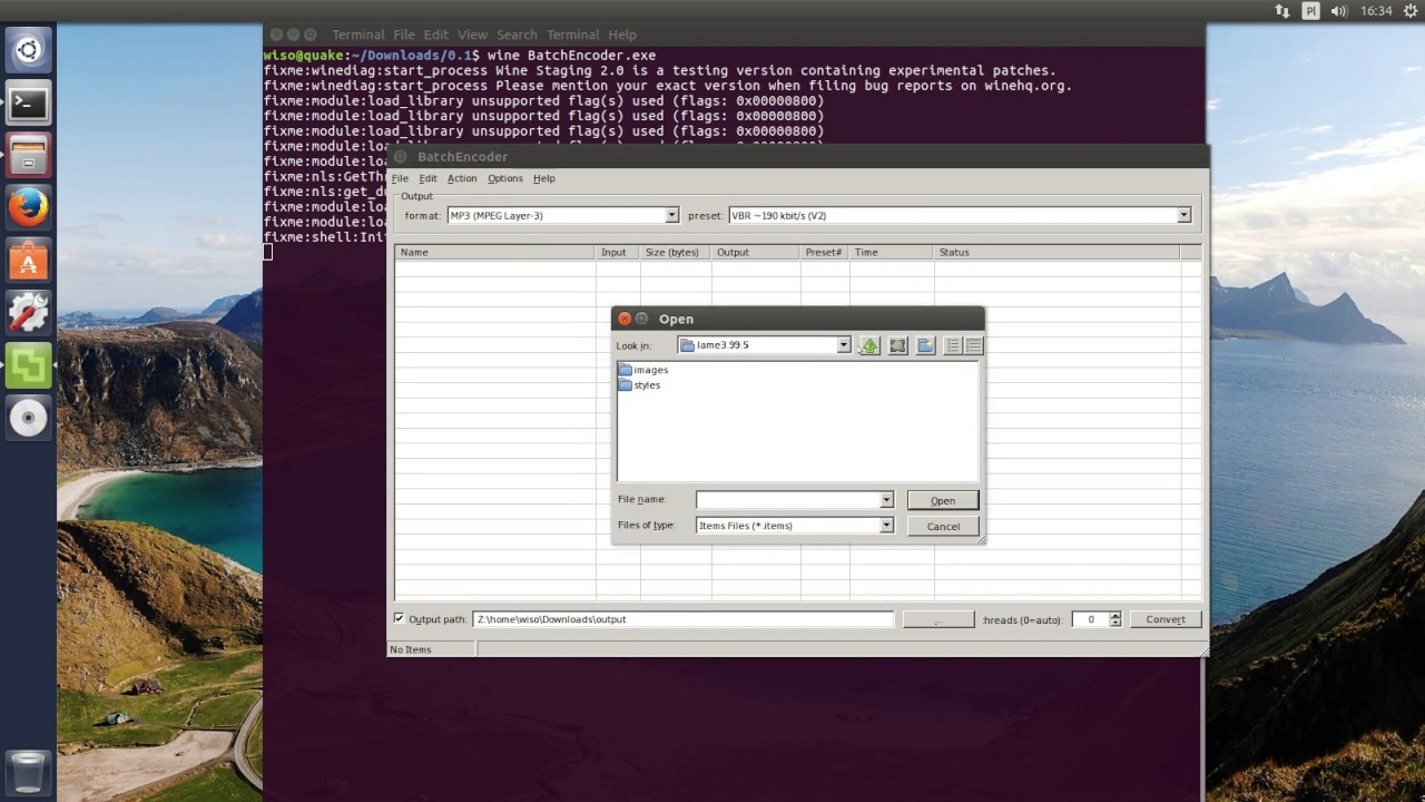 BatchEncoder 1 0 preview running under Ubuntu 16 10 (32-bit) using wine 2 0