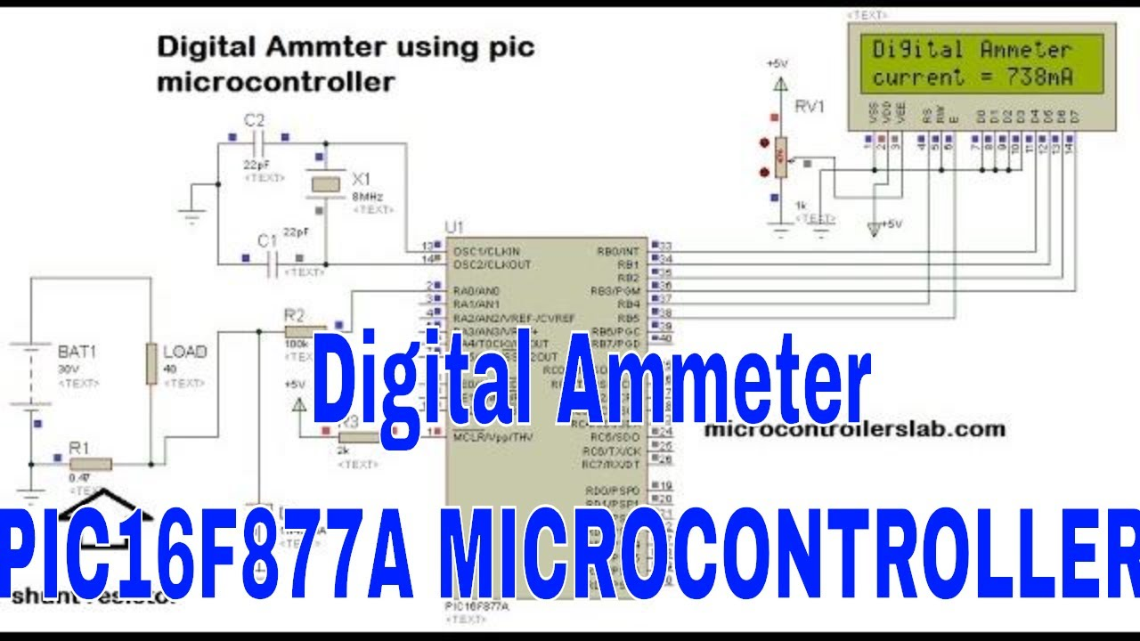 Digital voltmeter using pic microcontroller project and circuit