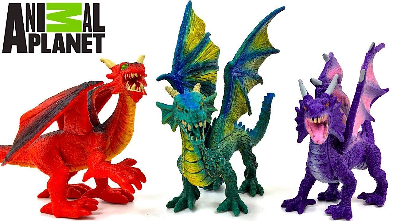 Coleccion De Dragones Animal Planet Con 6 Legendarios Dragones