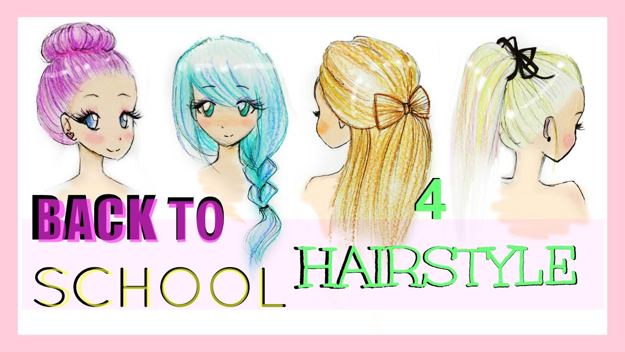 Drawing Tutorial | Back to School | 4 Hairstyles - YouTube