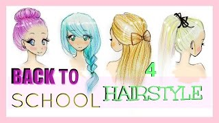 Drawing Tutorial | Back to School | 4 Hairstyles