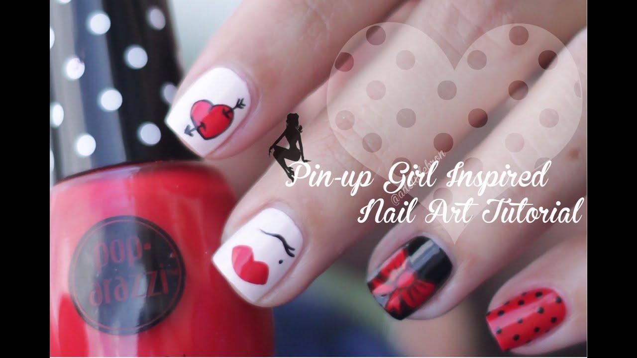 Pin Up Girl Inspired Nail Art Tutorial Youtube