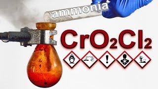 What happens when liquid ammonia contacts chromyl chloride