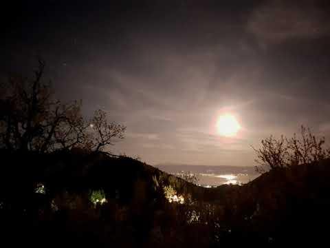 Moonrise over Lake Ohrid. Samsung Galaxy S10 nightlapse timelapse.