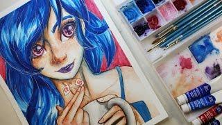 Tea Girl (watercolor) Diana y el bloqueo creativo   Platicando y dibujando con Diana
