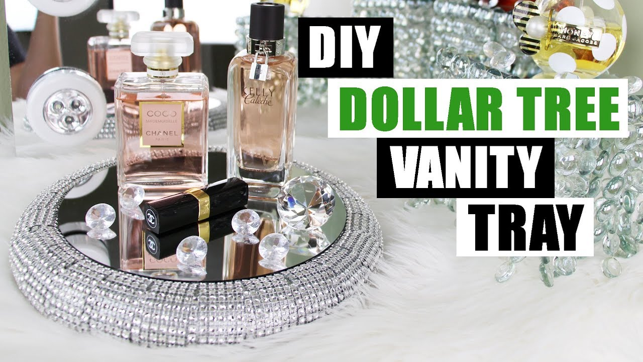DIY DOLLAR TREE VANITY TRAY Dollar Store DIY Bling Perfume Tray DIY Glam Home  Decor