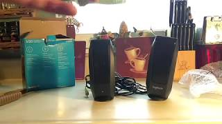 Logitech S120 Stereo PC Phone TV Speakers unboxing test Review