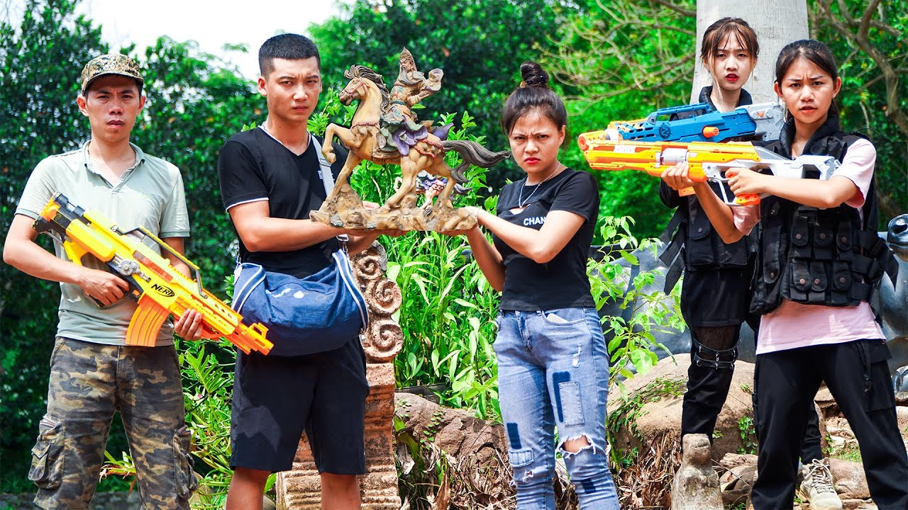 XGirl Nerf War: Cherry Hunting Antique Action Films ! SEAL X Girl Nerf Guns Criminal Ali Baba