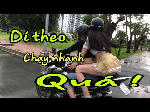 Chạy Theo Nữ Biker lái moto trên phố   MinhBiker