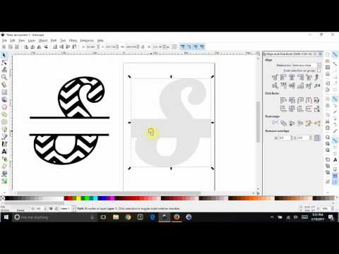 Inkscape - Split a chevron letter and leave a solid white background behind it