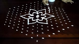 Simple Flowers kolam designs with 15-8 middle | chukkala muggulu with dots| rangoli design