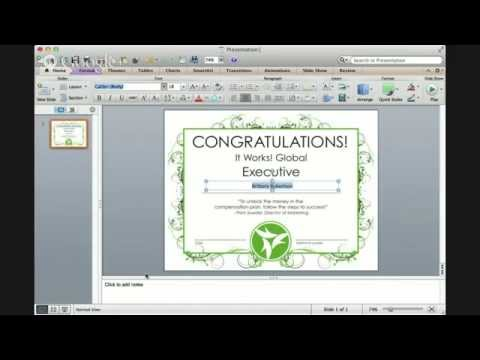 Editing a PDF Certificate in Power Point for your It Works! Global business